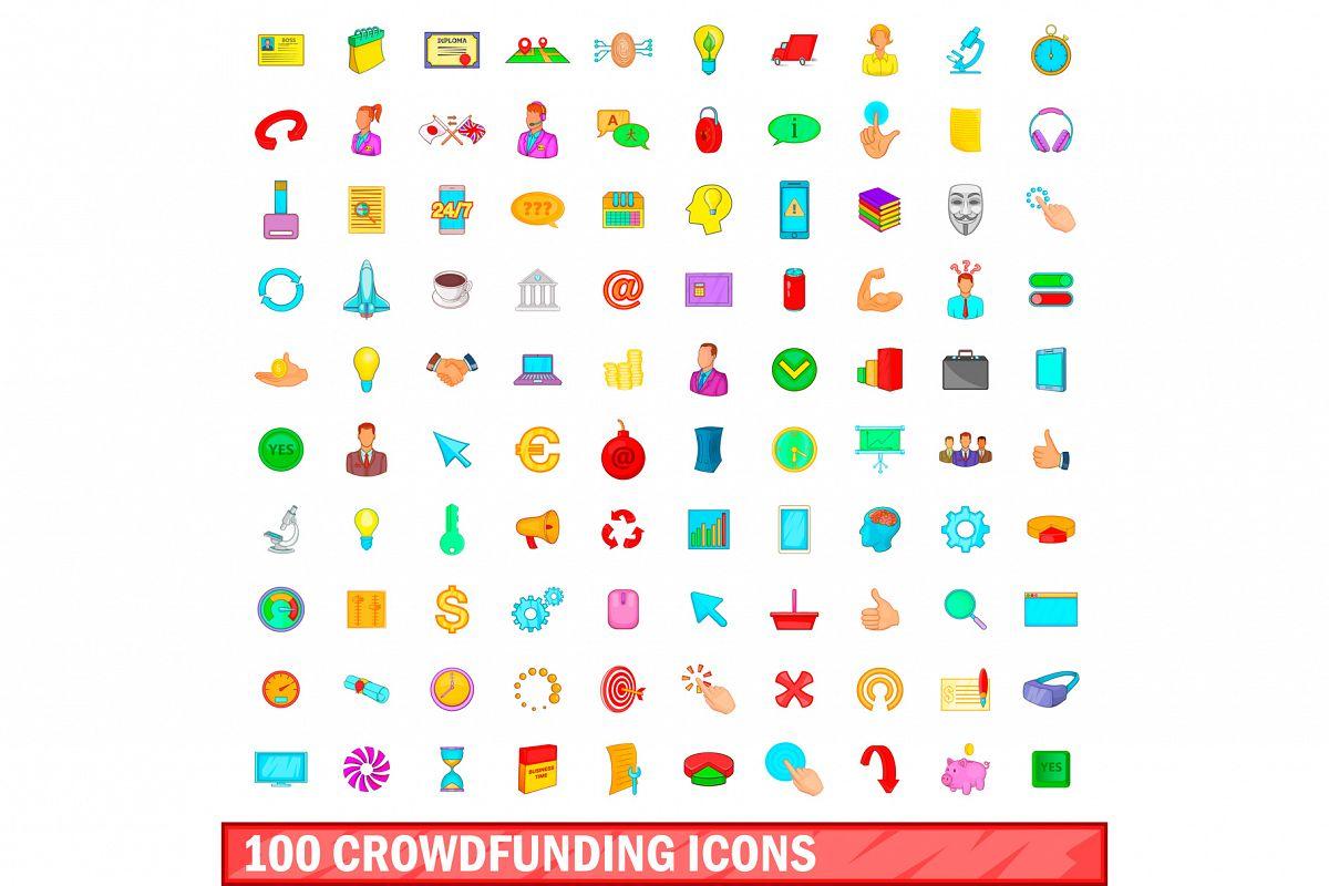 100 crowdfunding icons set, cartoon style example image 1