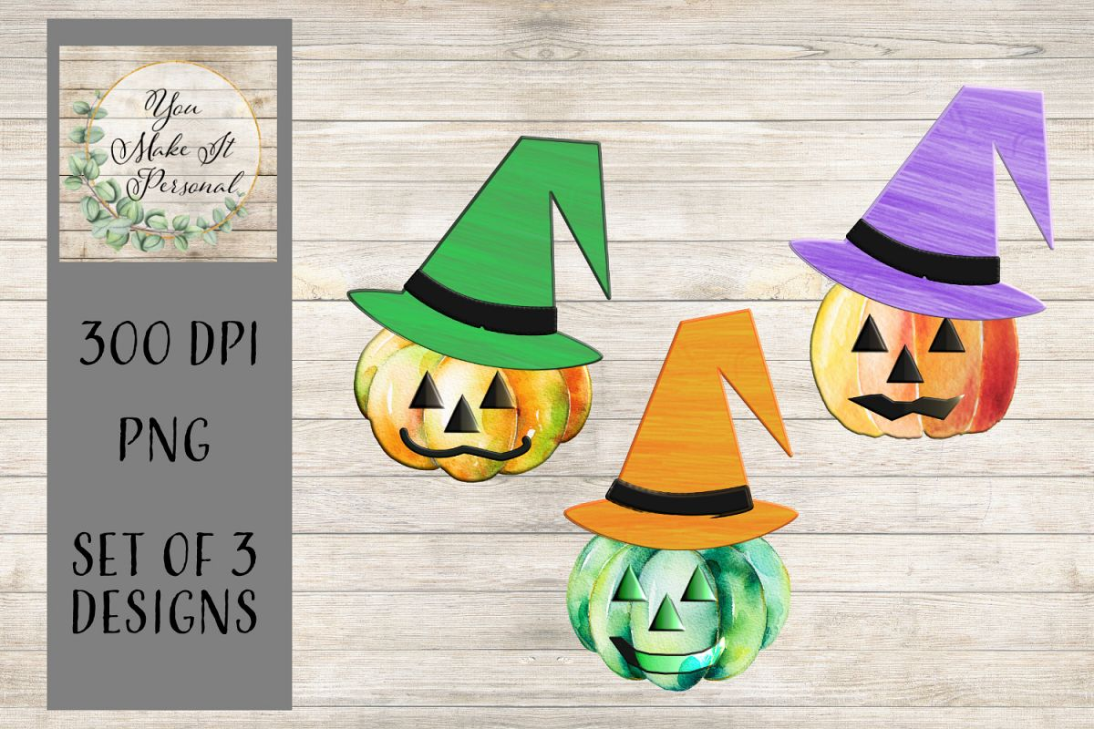 Set of 3 Watercolor Pumpkins/Jack-O-Lanterns/Scarecrows example image 1