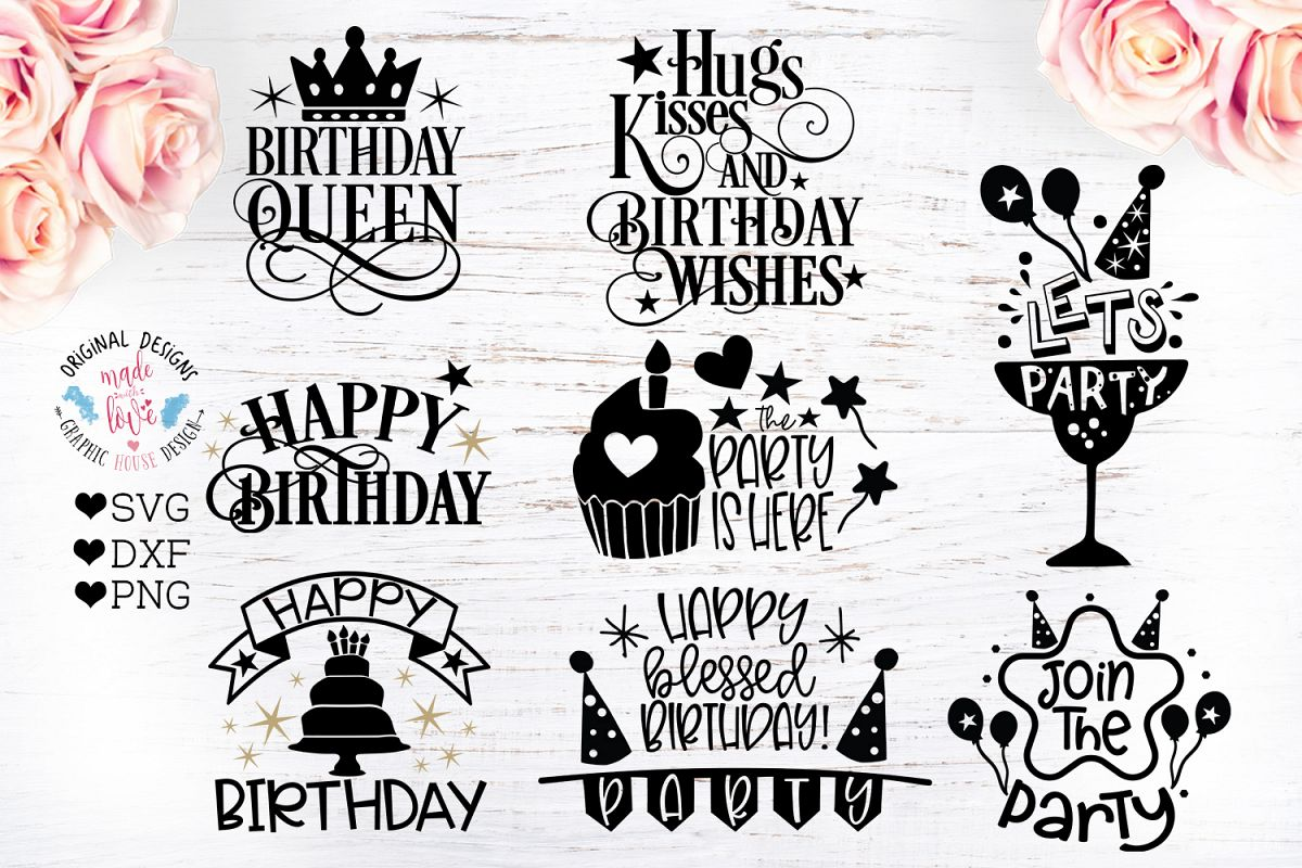 8 Birthday Party Quotes - Birthday Cut Files Bundle example image 1
