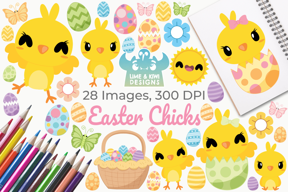 Easter Chicks Clipart, Instant Download Vector Art example image 1