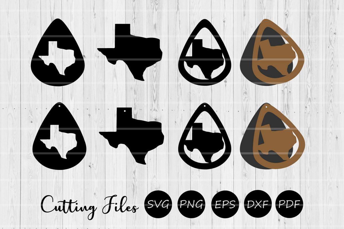 Texas Teardrop Earrings   8Cutting Files   Leather Earrings example image 1