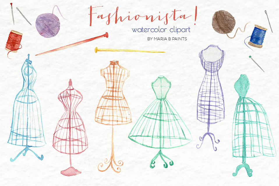 Watercolor Clip Art - Fashion, Sewing, Dress Forms example image 1