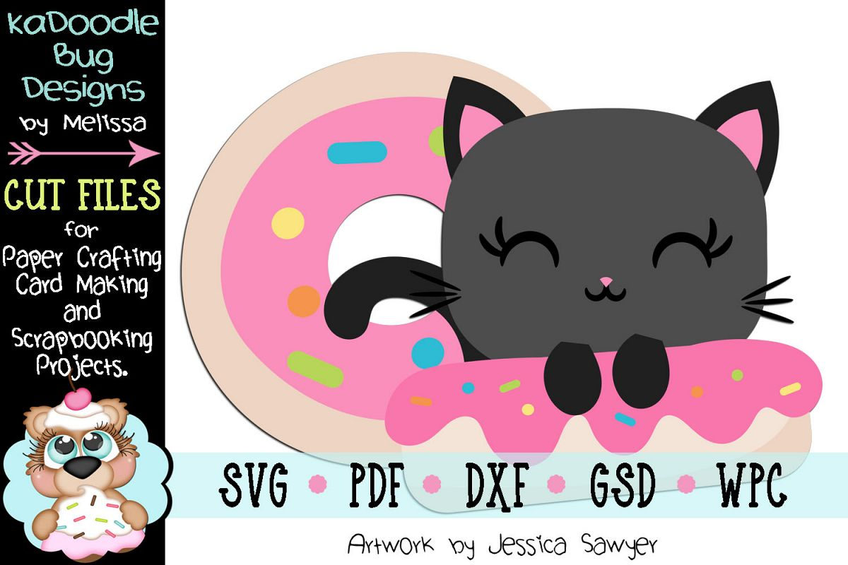 Donut Kitty Cut File - SVG PDF DXF GSD example image 1