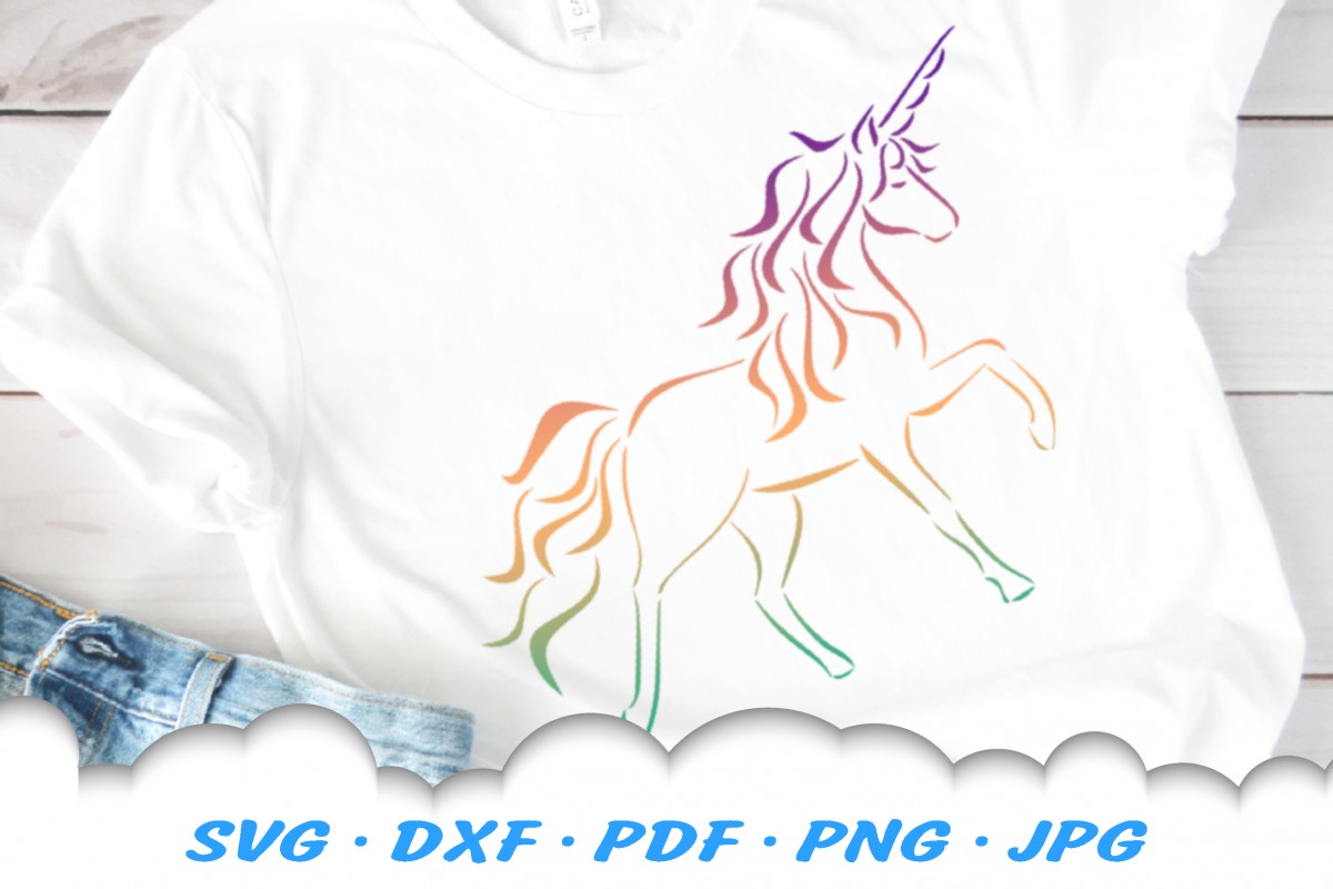 Tribal Unicorn SVG DXF Cut Files example image 1