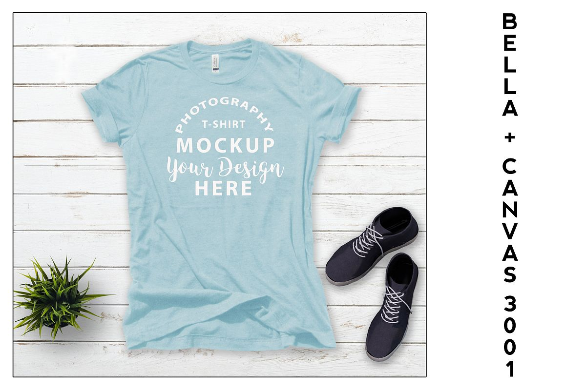 Bella Canvas 3001 T-shirt mock-up Heather Prism Ice Blue example image 1