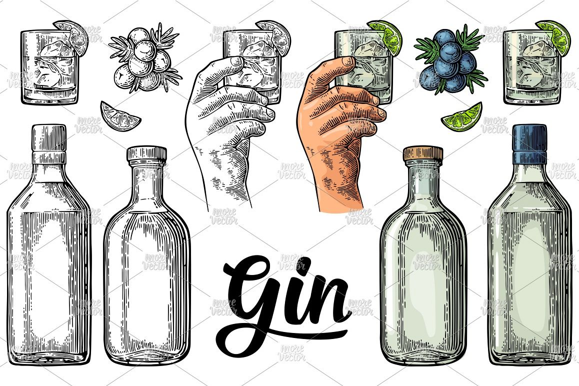 Glass, bottle gin, branch juniper with berries engraving example image 1