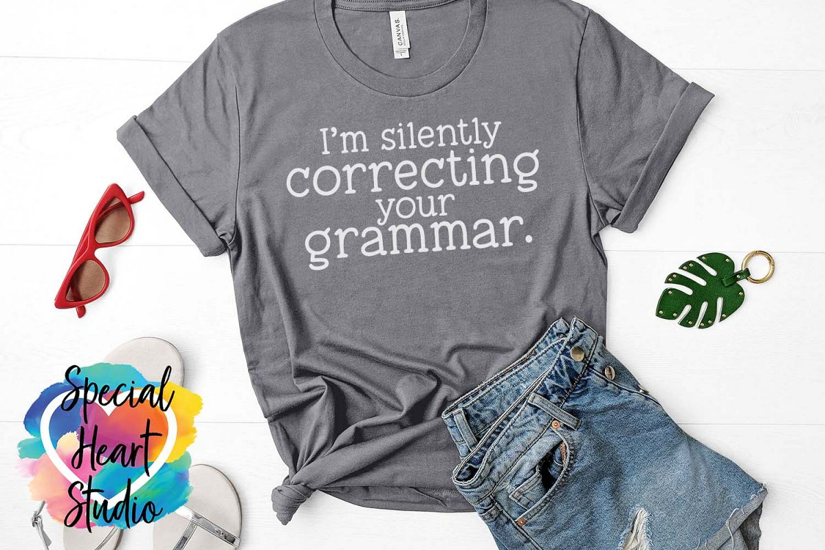 Silently correcting grammar - A sarcastic and funny SVG file example image 1