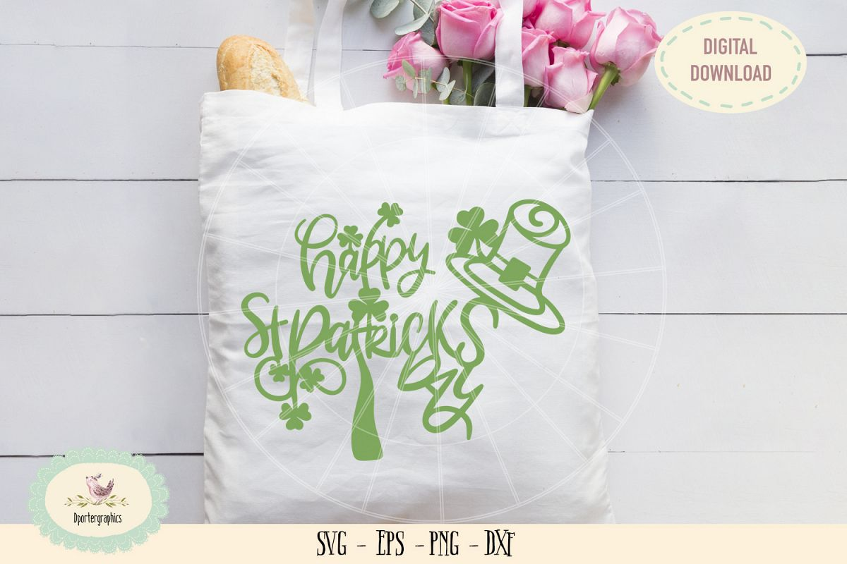 Happy St Patricks day paper cut SVG PNG example image 1