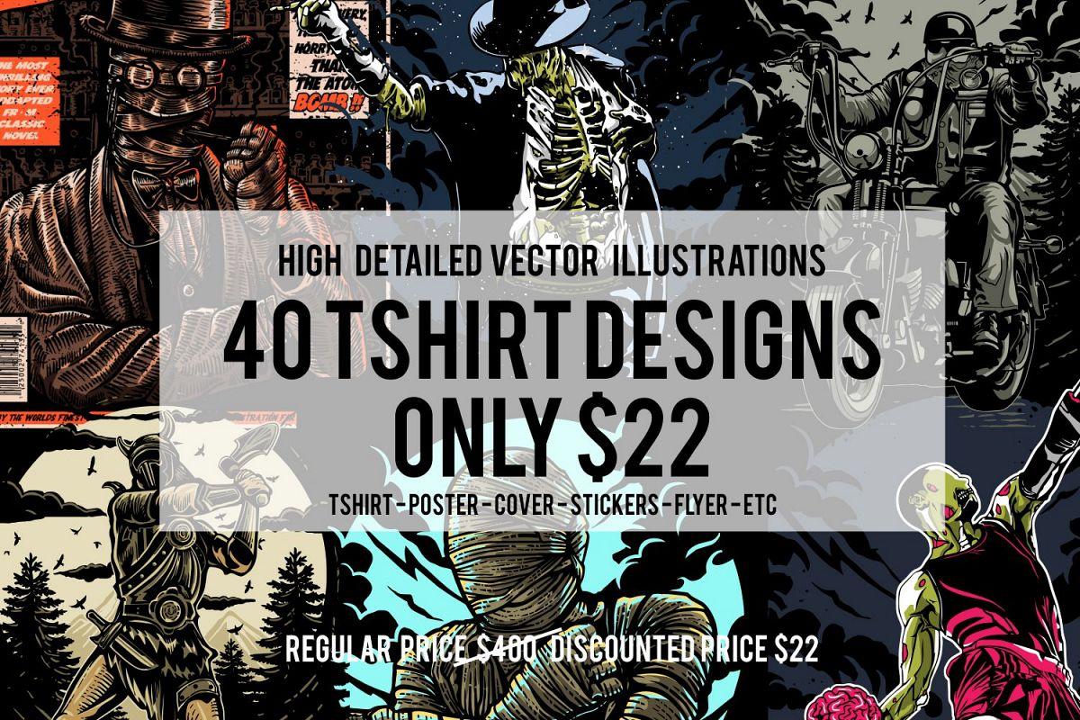 40 Tshirt Designs Bundle example image 1