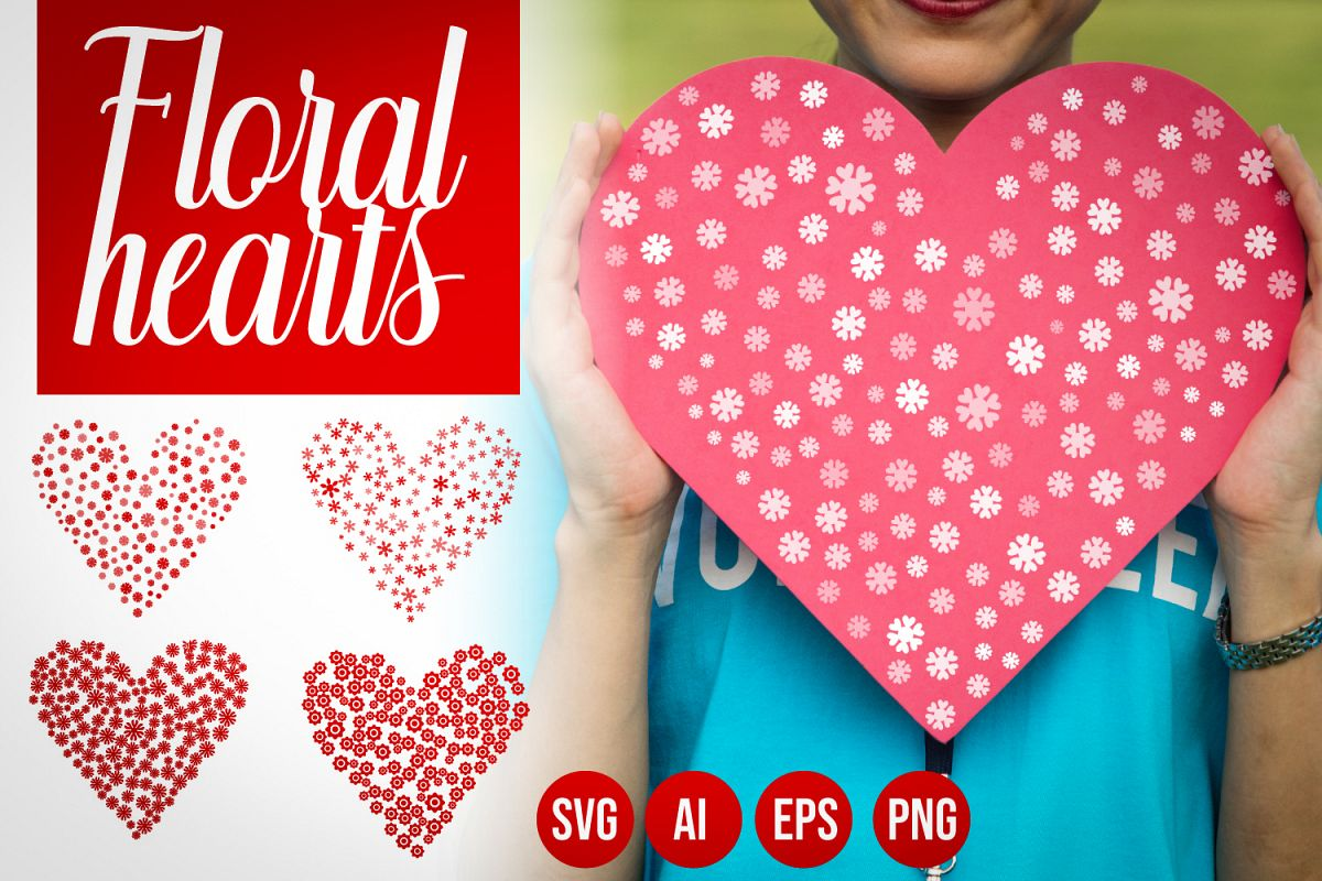 Set of 4 Flower Hearts Shape SVG, Floral Hearts AI, EPS example image 1