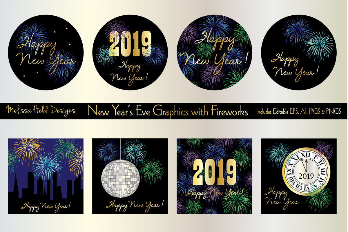 New Year's Eve Graphics with Fireworks example image 1