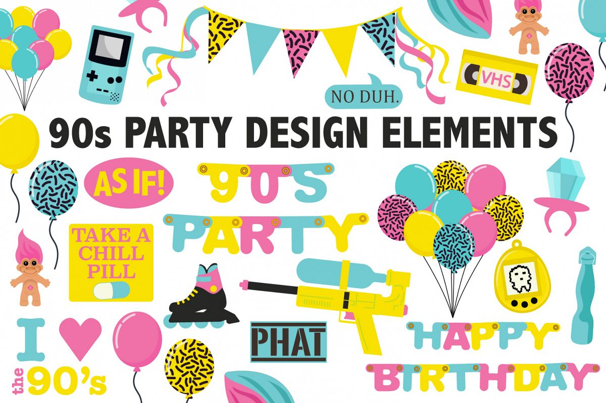 90s Birthday Party Clipart Example Image 1