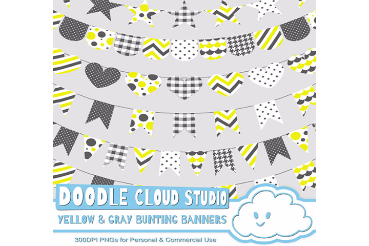 Yellow & Gray Patterns Bunting Banners Cliparts Pack, pattered flags, transparent Background, Instant Download, Personal and Commercial Use example image 1