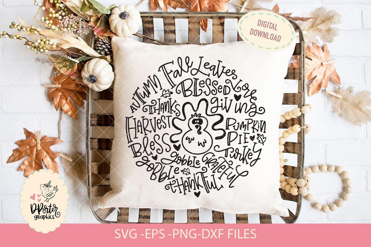 Thanksgiving typography svg, fall season svg example image 1