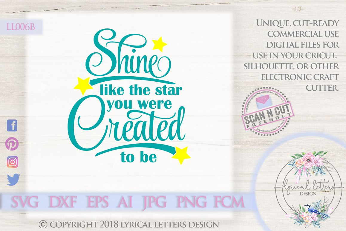 Shine Like the Star You Were Created To Be SVG DXF LL006B example image 1