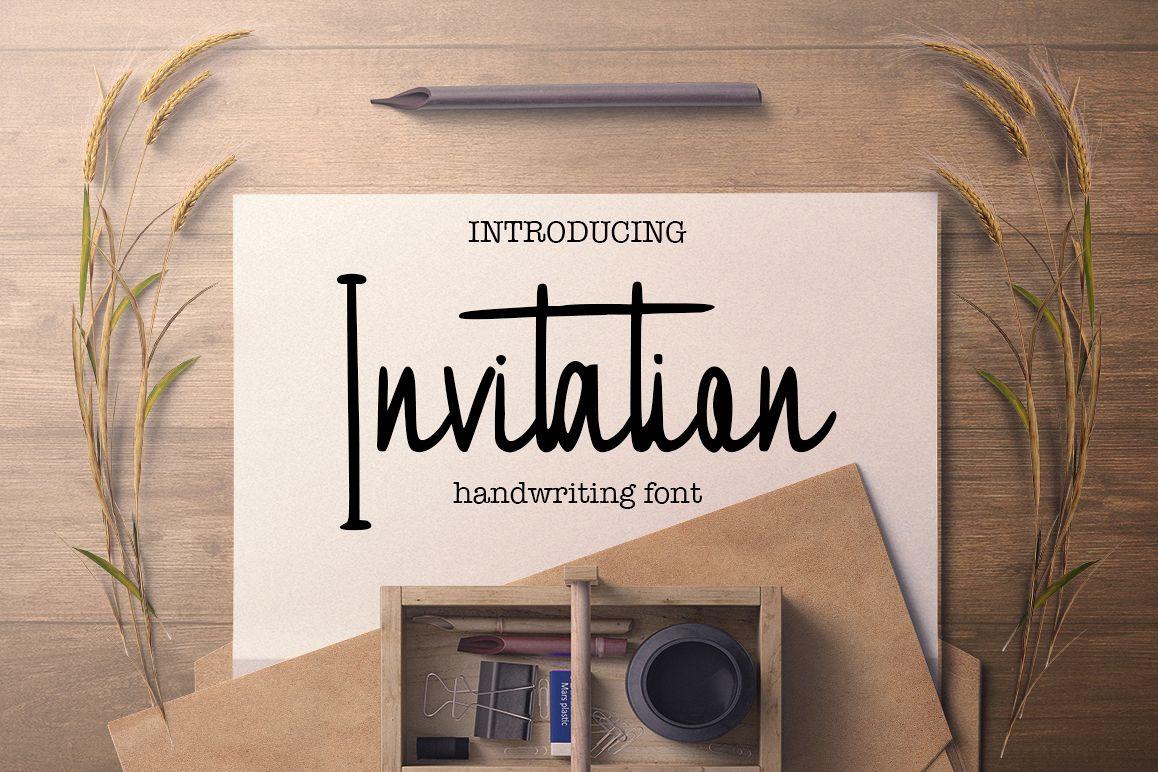 Invitation handwritten font example image 1