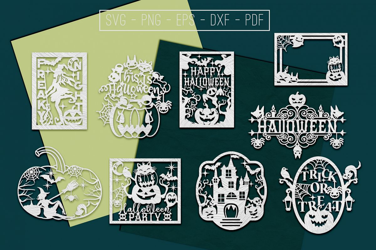 Happy Halloween Papercut Templates Bundle, Spooky, PDF, SVG example image 1
