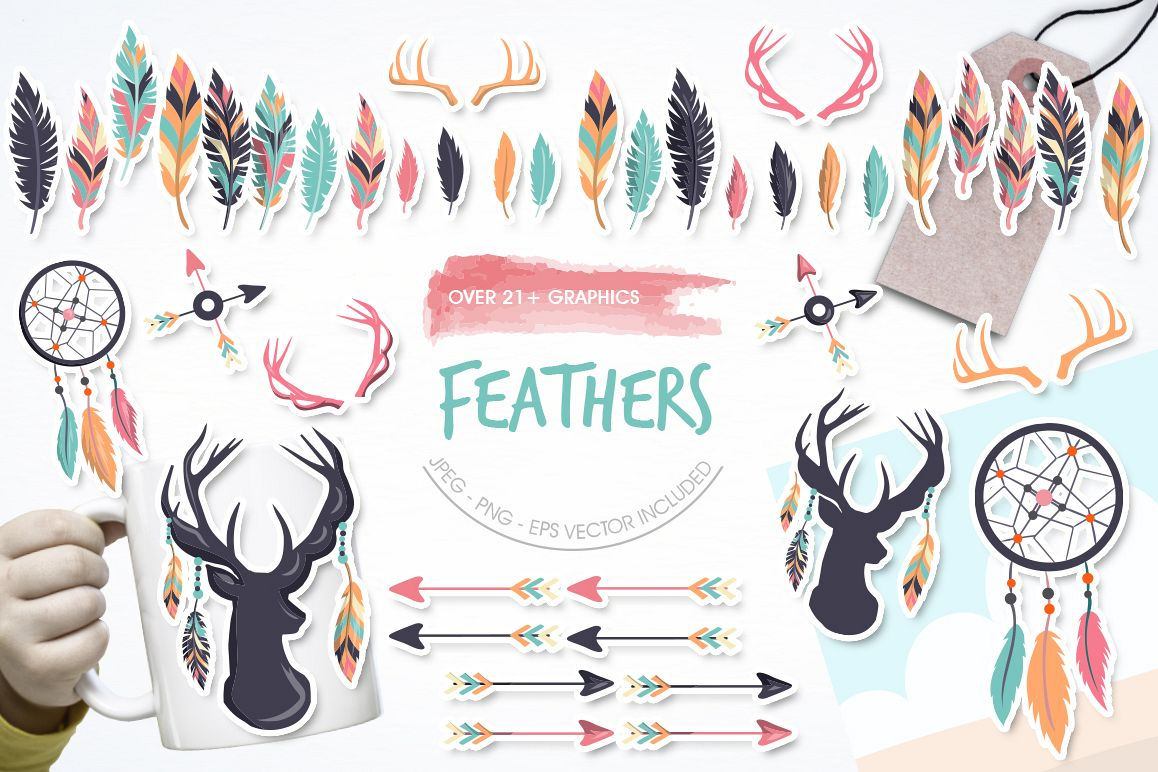 Feathers graphic and illustrations example image 1