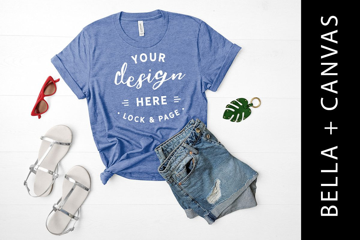 c87e05d74db Heather Columbia Blue Bella Canvas 3001 T Shirt Mockup example image 1