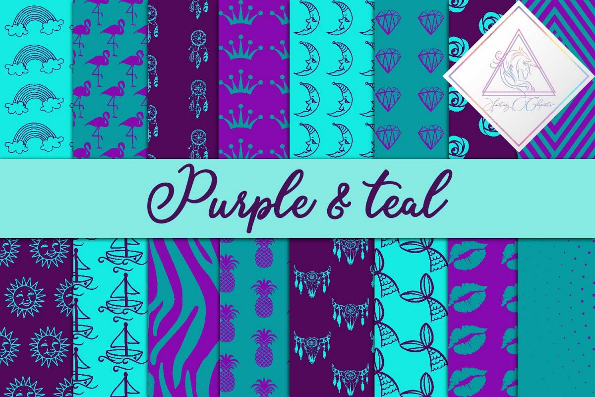 Purple & Teal Digital Paper example image 1