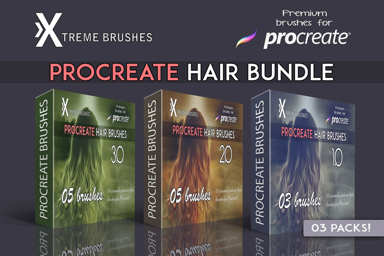 Procreate Hair Bundle example image 1