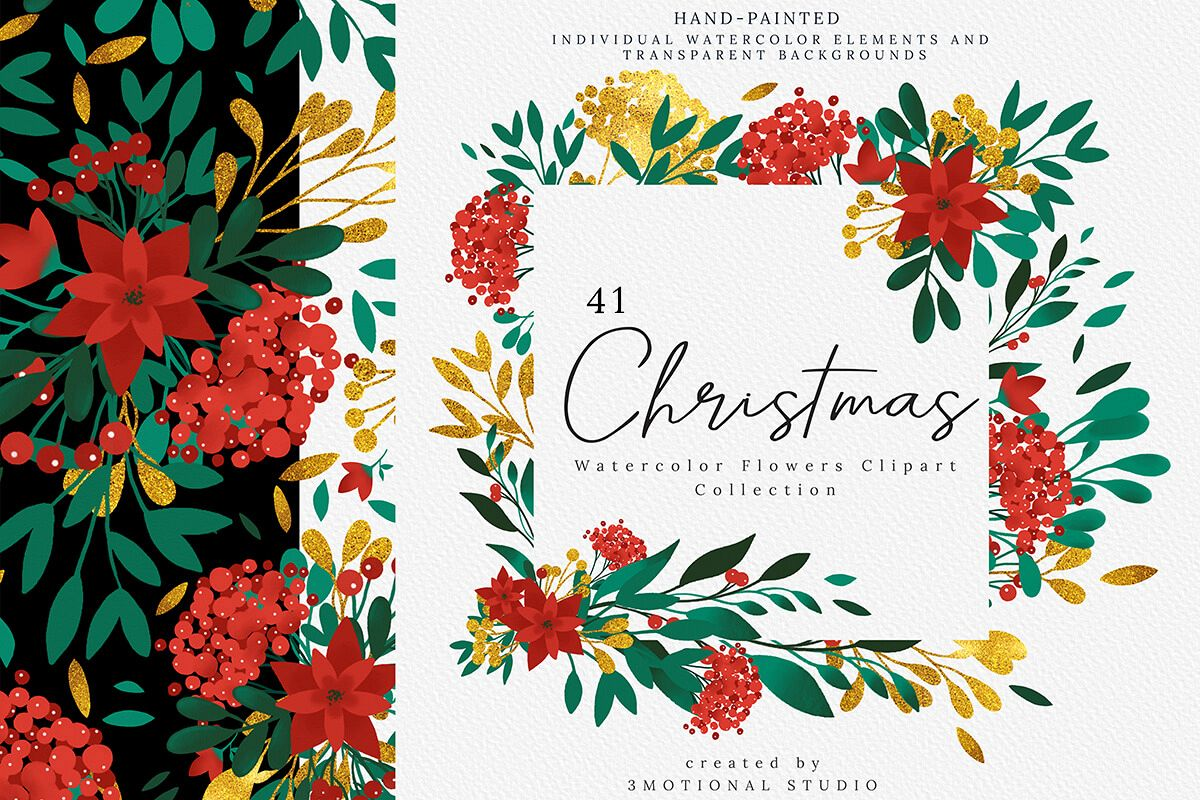 Christmas Watercolor Flowers Clipart Collection example image 1