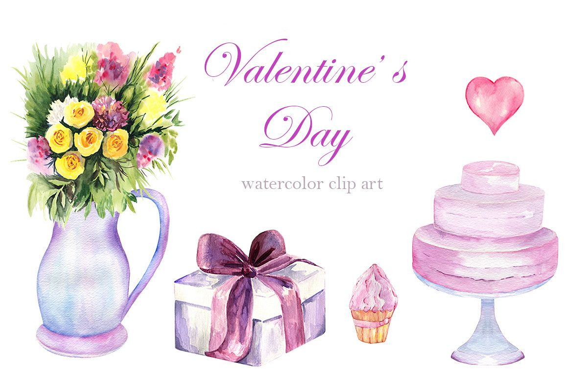 Watercolor Valentine's Day Set example image 1