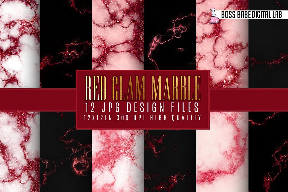 Red Glam marble digital paper example image 1