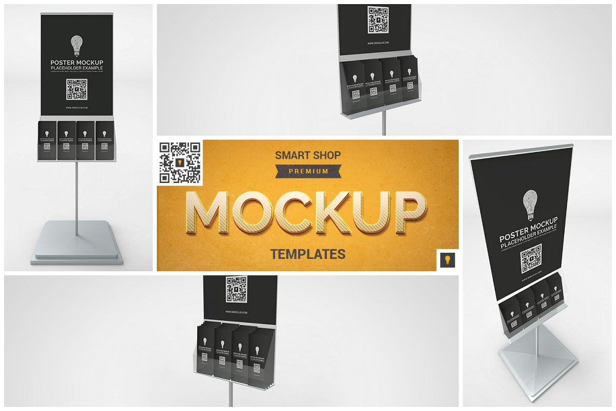 Poster Stand with Brochure Rack Mockup example image 1