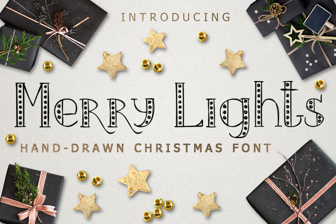 MERRY LIGHTS - hand drawn Christmas font
