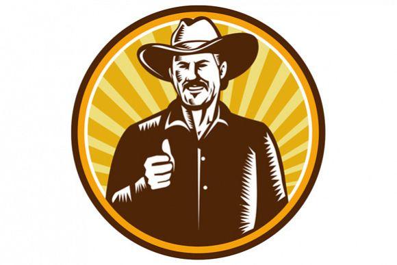 Cowboy Thumbs Up Sunburst Circle Woodcut example image 1