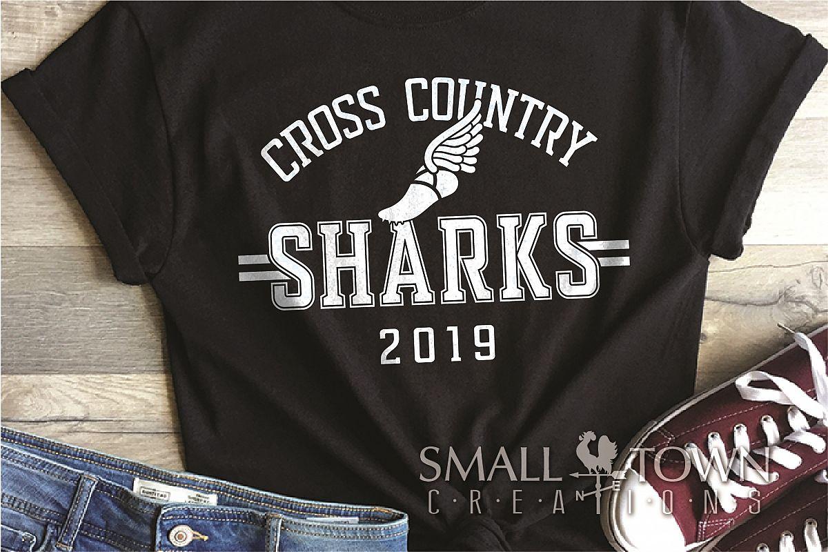 Sharks Cross Country, Shark mascot, PRINT, CUT, DESIGN example image 1