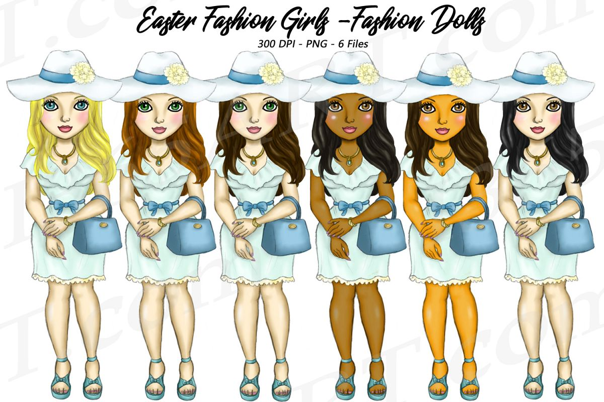 Easter Fashion Girls Clipart, Black Girl Dolls Fashion PNG example image 1