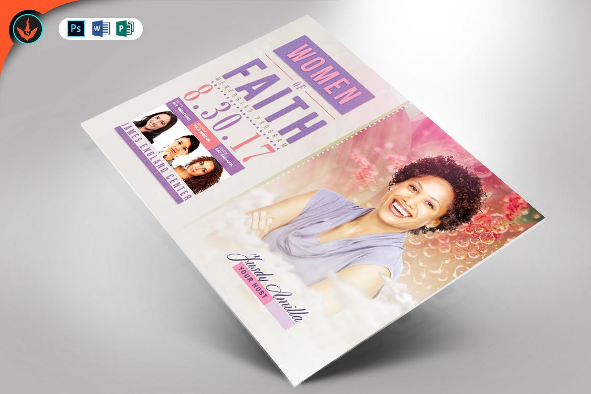Women of Faith Conference Flyer Photoshop Template example image 1