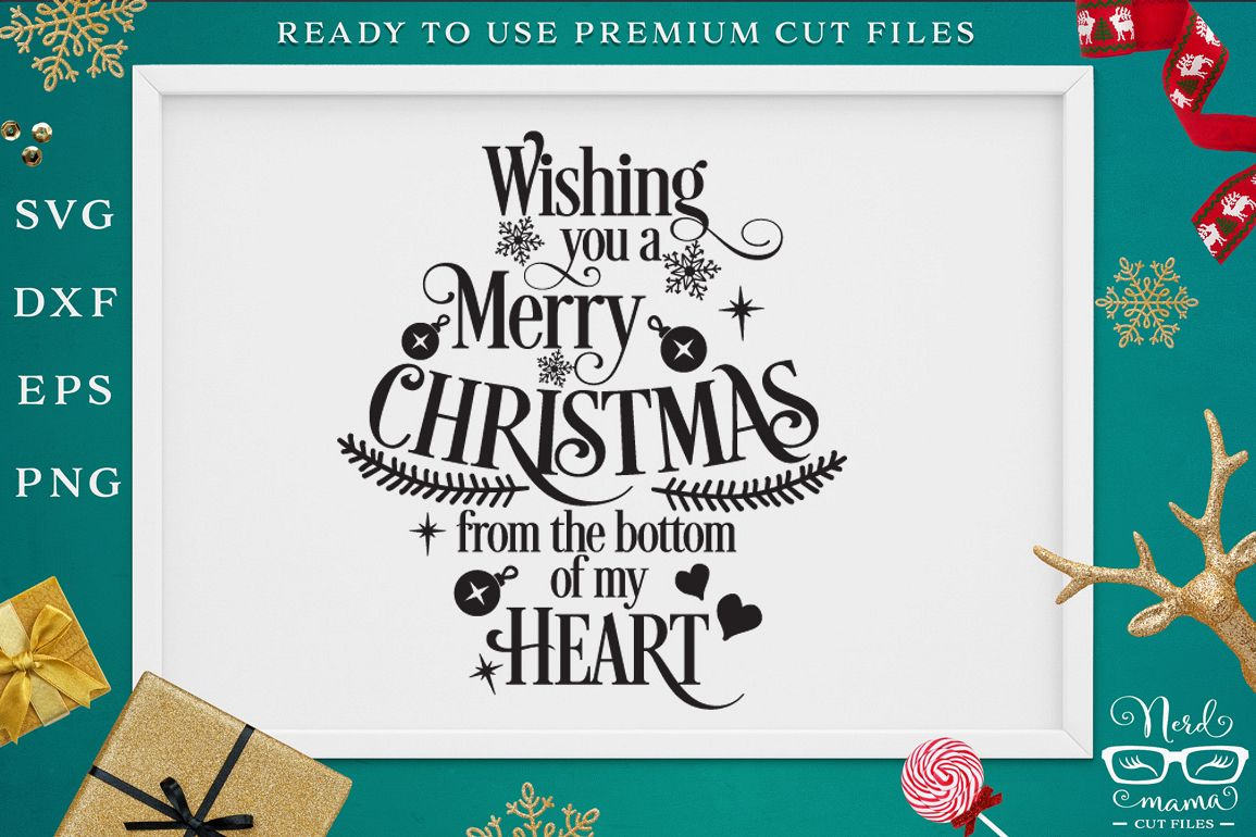 Wishing you a Merry Christmas SVG Cut File example image 1