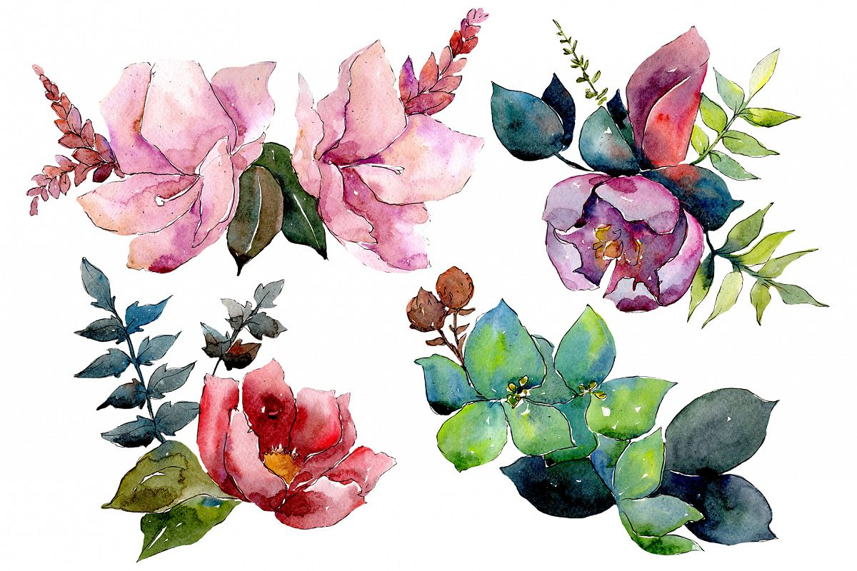 Bouquet of tropical flowers PNG watercolor example image 1
