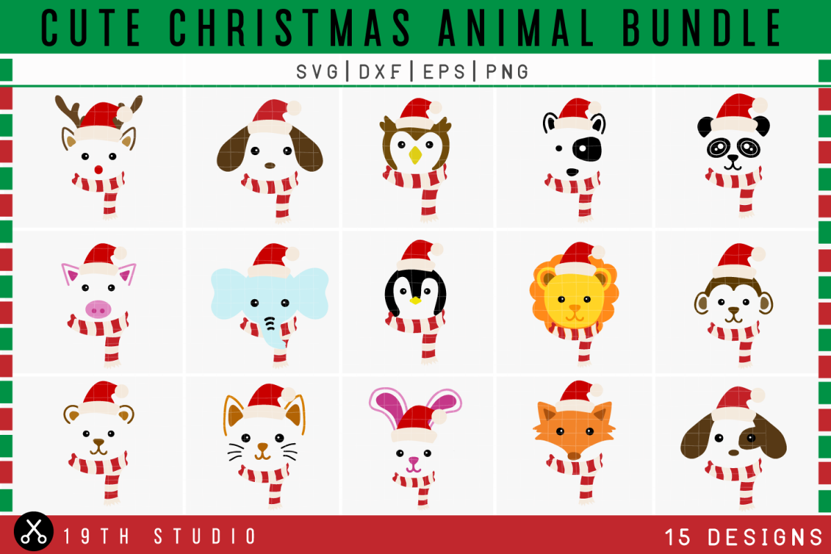 Christmas Animals SVG Bundle | SVG DXF EPS PNG example image 1