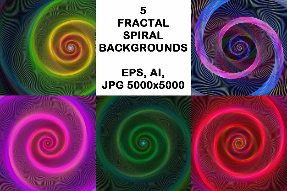 5 Fractal Spiral Backgrounds (AI, EPS, JPG 5000x5000) example image 1