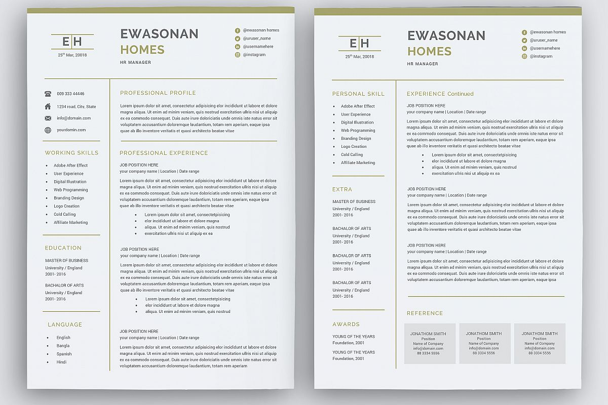 Minimal Resume 3 Pages Cv Template For Word Two Page Resume