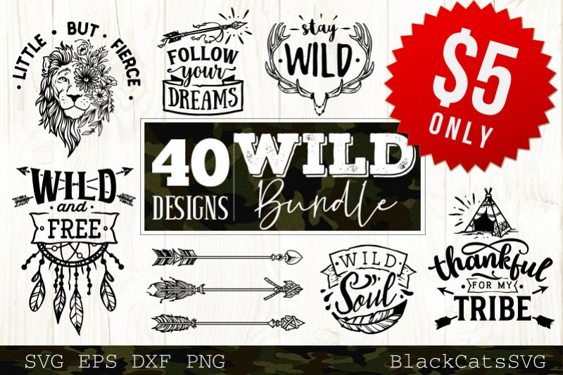 Wild and Boho SVG bundle 40 designs Wild SVG bundle example image 1