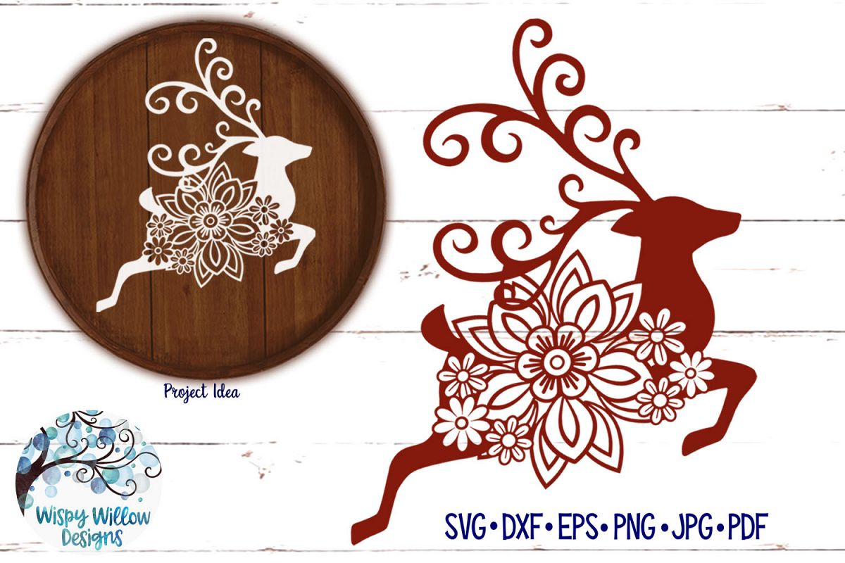 Floral Reindeer SVG | Christmas SVG Cut File example image 1