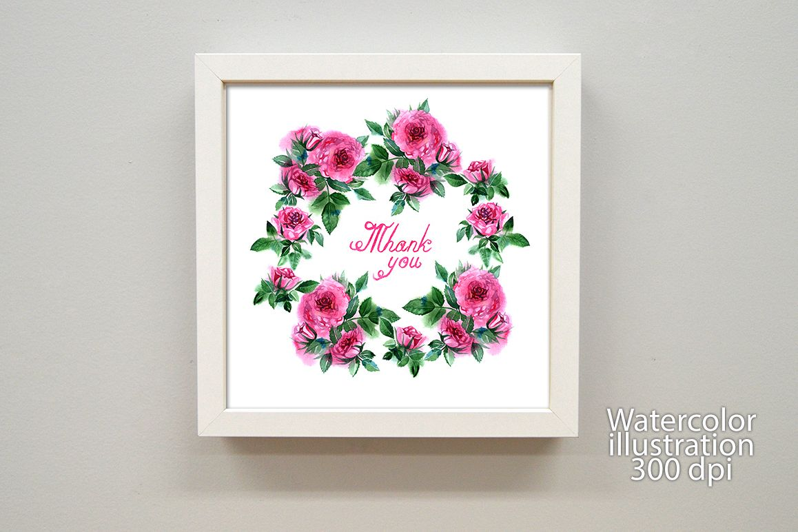 Watercolor roses greeting card example image 1
