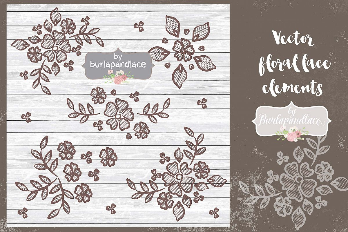 Vector  floral lace elements example image 1