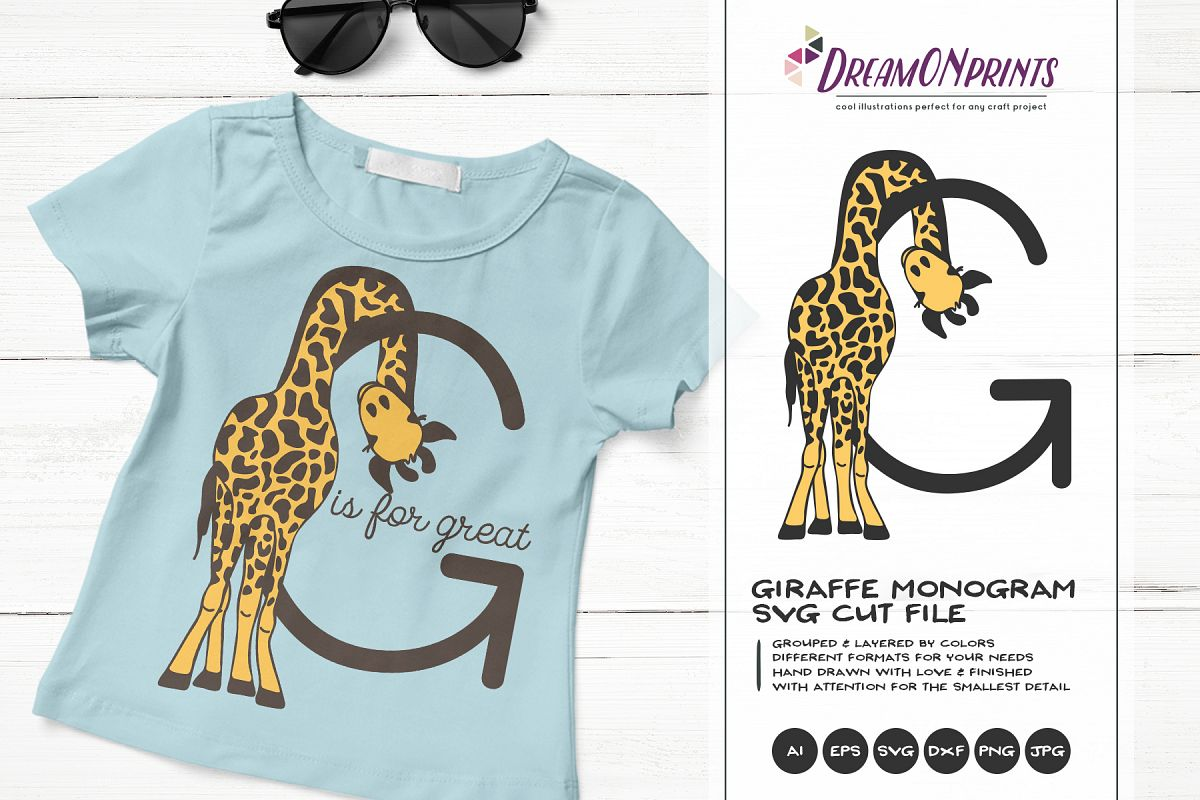 c8abbbf69 Letter G SVG Cut File | Monogram Letter G with Giraffe example image 1