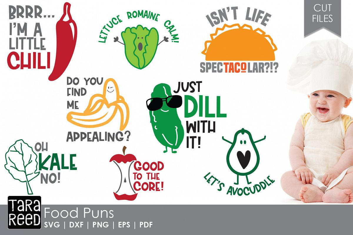 Food Puns - Food SVG and Cut Files for Crafters example image 1