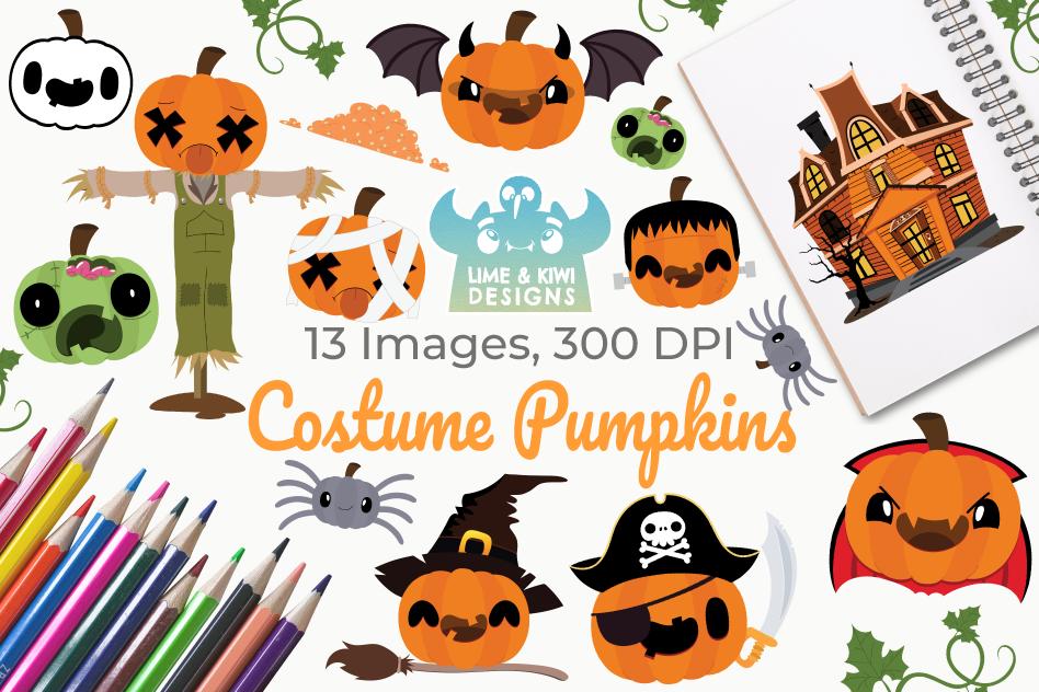 Costume Pumpkins Digital Clipart, Instant Download Vector example image 1