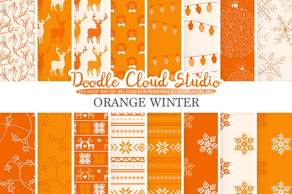 Orange Winter digital paper, Christmas Holiday patterns, Stars Snow deers X-mas backgrounds, Instant Download, for Personal & Commercial Use example image 1
