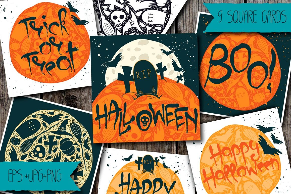 9 Halloween Greeting Cards example image 1