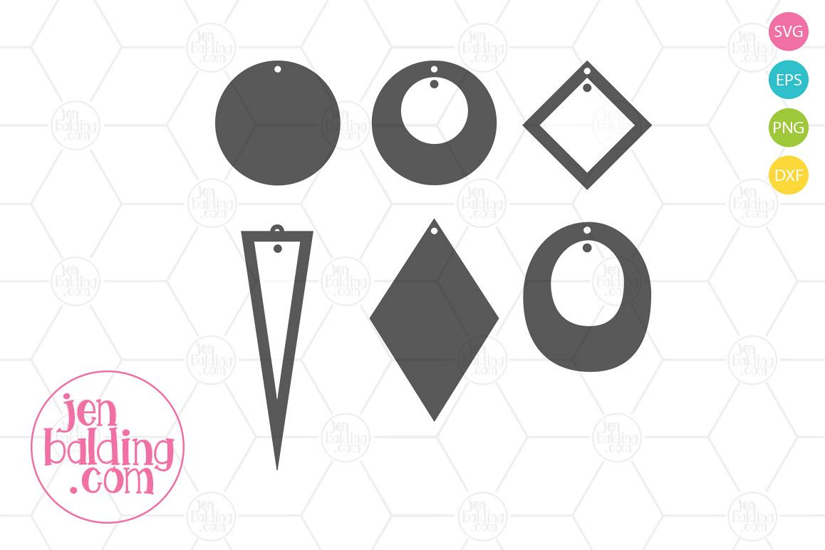 Basic Earring Templates SVG example image 1