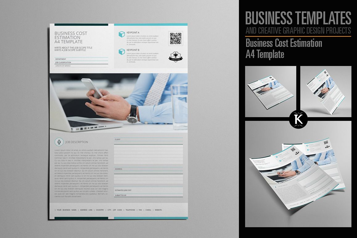 Business Cost Estimation A4 Template example image 1
